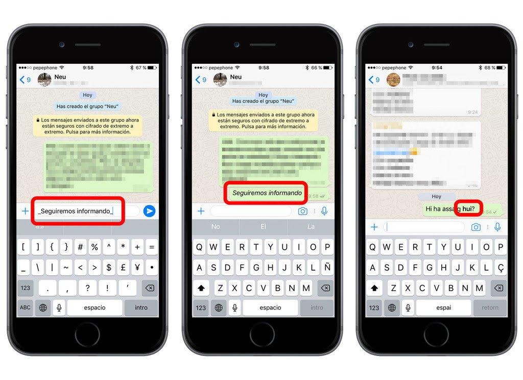 Trucos WhatsApp -> Dar formato al texto